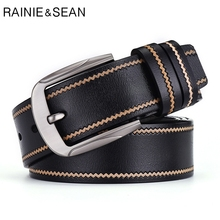RAINIE SEAN Black Belt Men Genuine Leather Cowskin Pin Buckle Wavy Stripe Mens Designer Belts High Quality Famous Brand