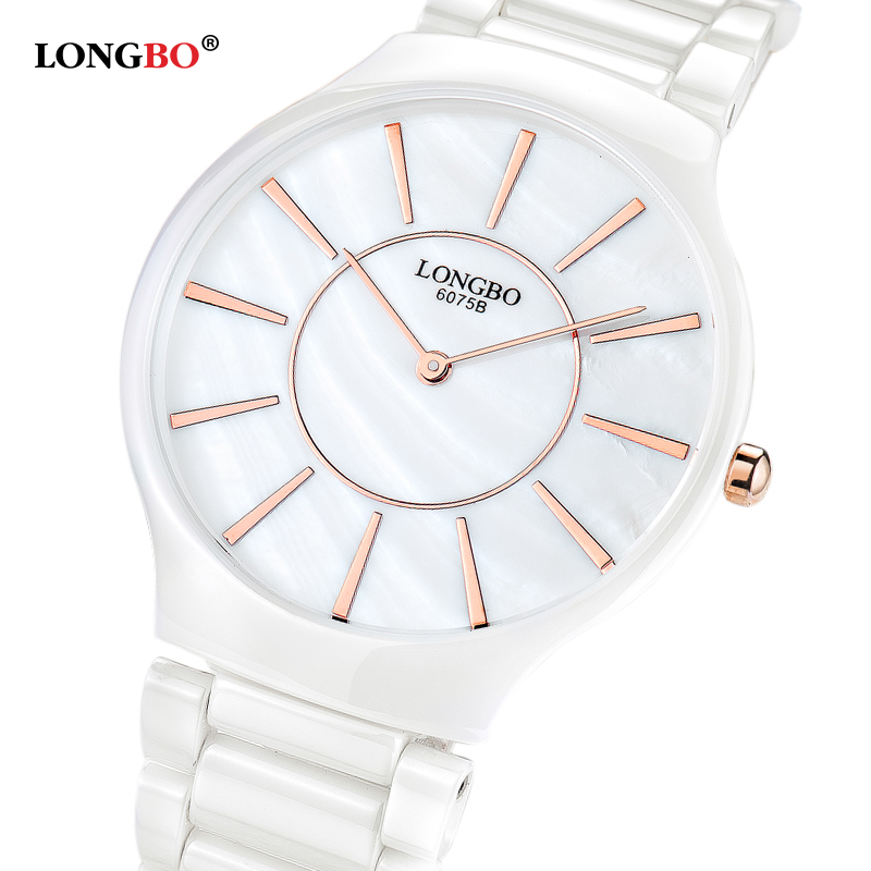 LONGBO Brand Luxury Fashion Casual Quartz Ceramic Watches relojes mujer Men Wristwatch Clock 6075 все цены