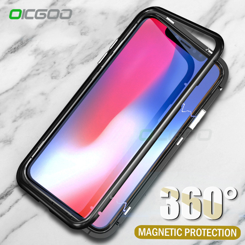 OICGOO Magnetic Adsorption Phone Case For iPhone X For iPhone 8 7 Plus Magnetic Cases Tempered Glass Cover For iPhone 8 7 X Case