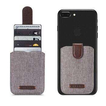 Muxma de lona de cuero de la tarjeta pegatinas funda para iPhone x XR XS Max Redmi K20 5 ranuras para tarjetas, funda para Samsung A70 S10 Huawei P30