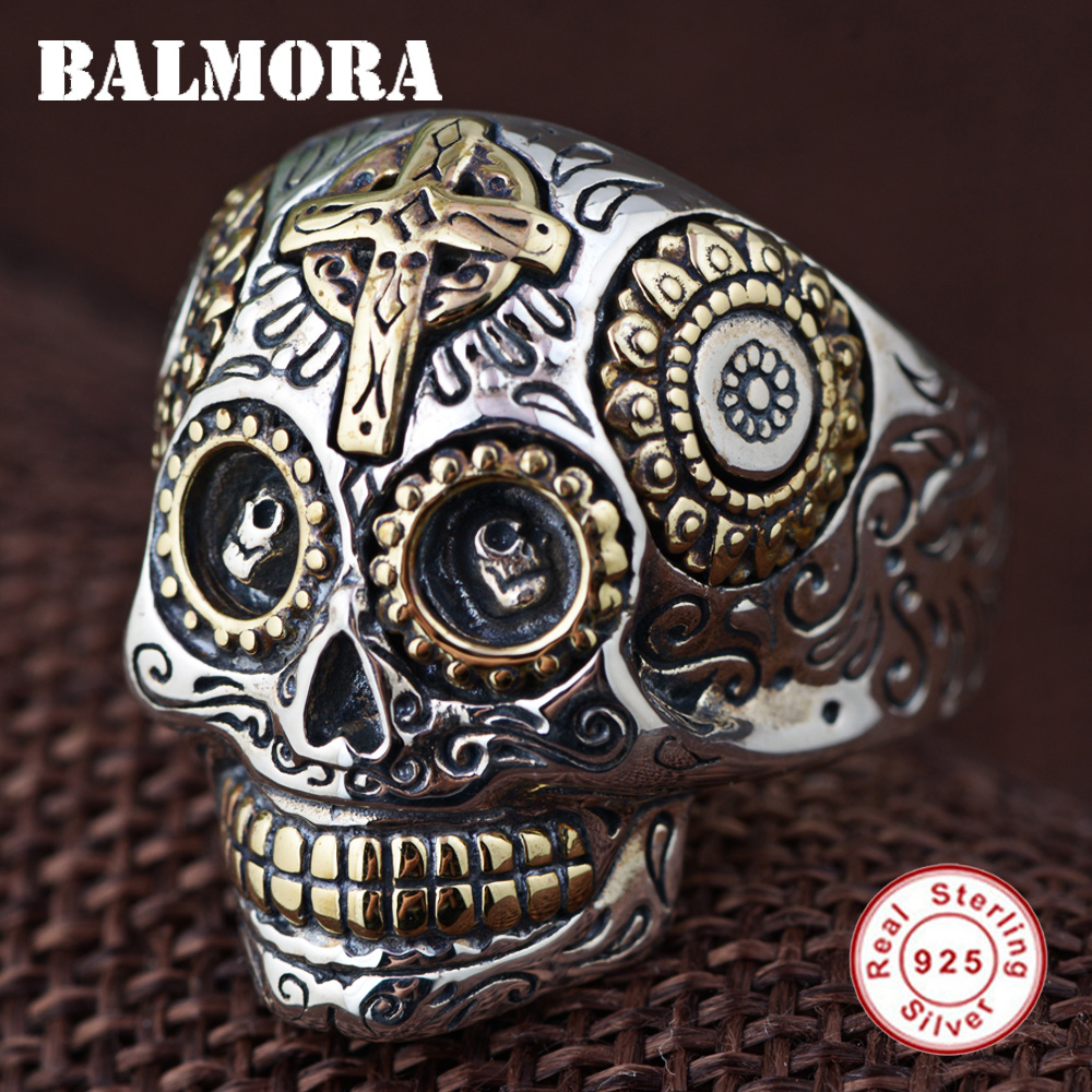 BALMORA 100% Real 925 Sterling Silver Vintage Rings for Women Men Lovers Punk Fashion Cool Jewelry Skull Ring Bijoux SY20540 vintage pearl ring ancient real 925 sterling rings for women 2019 new fashion bohemia jewelry