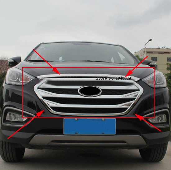 Hot sell ABS Chrome Front Grille Around Trim Racing Grills Trim For 2013-2015 Hyundai ix35 ghg for chevy epica 2007 2012 front grille around trim front grills around trim racing grills trim abs 1pc
