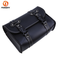 POSSBAY Universal Bicycle Motorcycle Saddle PU Leather Bag Storage Tool Pouch For Harley Touring Cruiser Saddlebag Backpack Bags