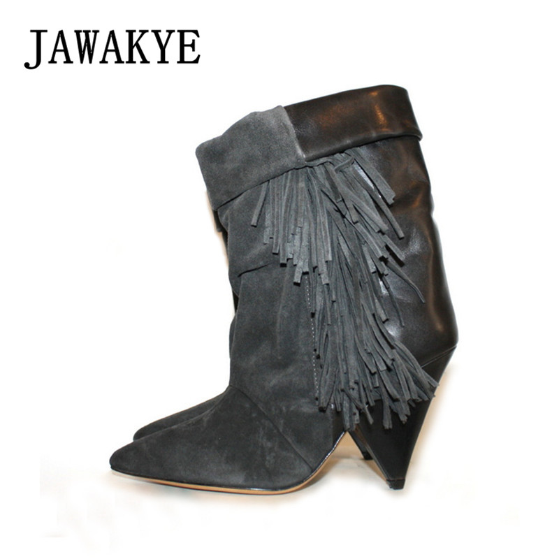 JAWAKYE Black Grey Tassel Ankle Boots for Women Spike High Heel Boots Suede Autumn Winter Fringed Botas Mujer Wedge Shoes Woman 2018 mid heel grey black leather cowboy women boots retro autumn winter boots lace up knee high boots shoes woman botas mujer