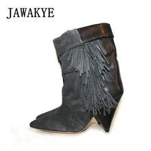 9d702dbf485 JAWAKYE negro gris borla botines para las mujeres Spike Botas de tacón de  ante otoño invierno