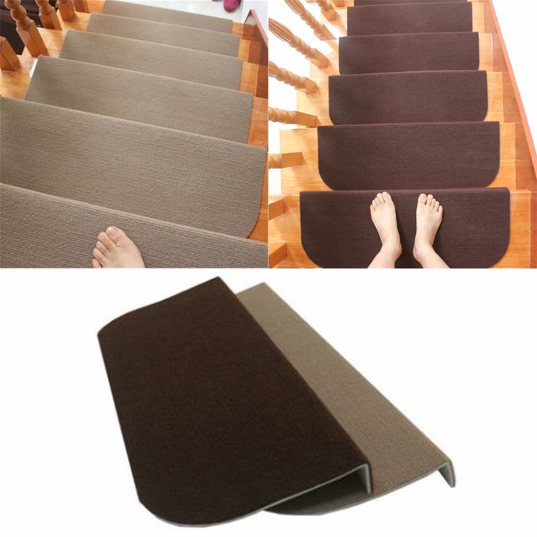 US $6 01 10% OFF|Hot Sale Non slip Adhesive Carpet Stair Treads Mats Mayitr  Staircase Step Rug Protection Cover 2 Colors-in Carpet from Home & Garden