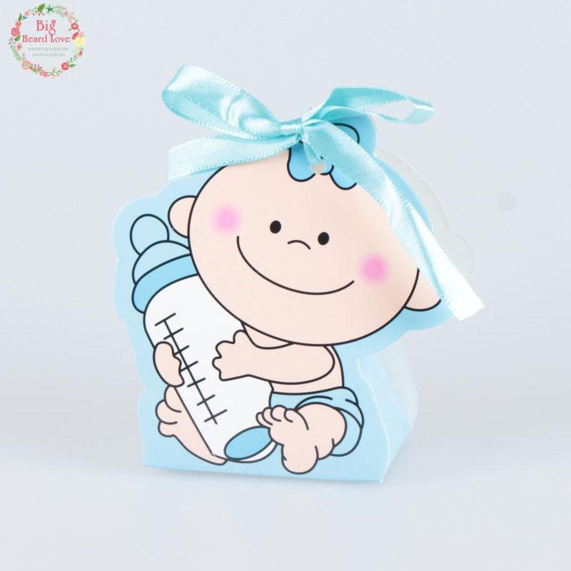 12 шт./компл. для маленьких девочек и мальчиков Бумага Подарочная коробка вечерние baby Shower конфетница, детская бутылочка для кормления День рождения украшения для детей - Цвет: blue