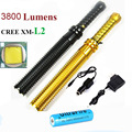 Upgrade Baseball bat led flashlight cree XM-L2 3800 Lumens 5 mode zoomable Aluminum mace rechargeable led flashlights torch