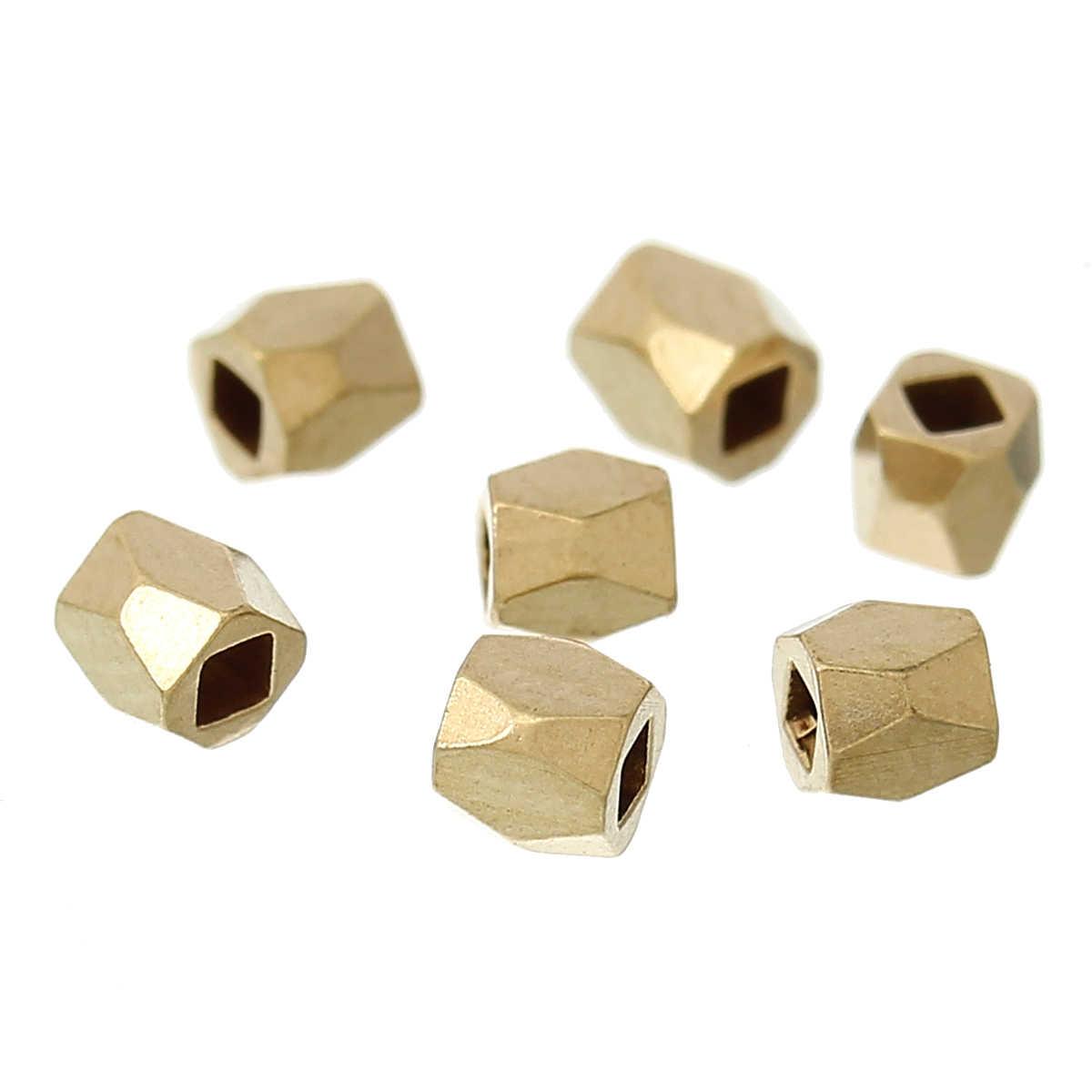 """Медные бусины-спейсеры полигон светло-золотой граненый около 2 мм (1/8 """") x 2 мм (1/8""""), отверстие: около 1,2 мм, 20 шт"""