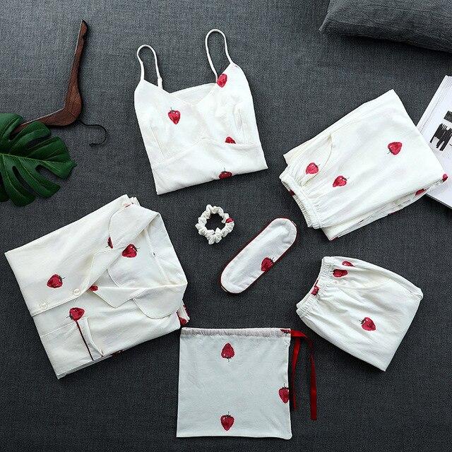 QWEEK Cotton Women Sleepwear 7 Pieces Sets Strawberry Print Pajamas for Women Long Sleeve Pyjamas Women Autumn Soft Female Suit