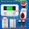 Frete Grátis! Home Security Sistemas De Alarme Com Fio sem Fio Teclado Sensor de Sistema de Alarme GSM PSTN LCD tela Do Menu Russo Espanhol