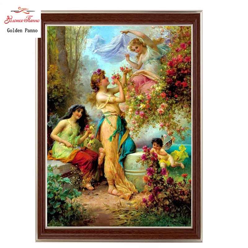 Golden Panno,Needlework,DIY DMC Cross stitch,Sets For Embroidery kit 14ct unprinted cotton thread  Playful woman Cross-StitchingGolden Panno,Needlework,DIY DMC Cross stitch,Sets For Embroidery kit 14ct unprinted cotton thread  Playful woman Cross-Stitching