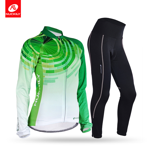 7bec05da0 NUCKILY Women Custom Cycling Wear Fleece Polyester Spandex Fabrics Thermal Bike  Jersey And Tights Suit For