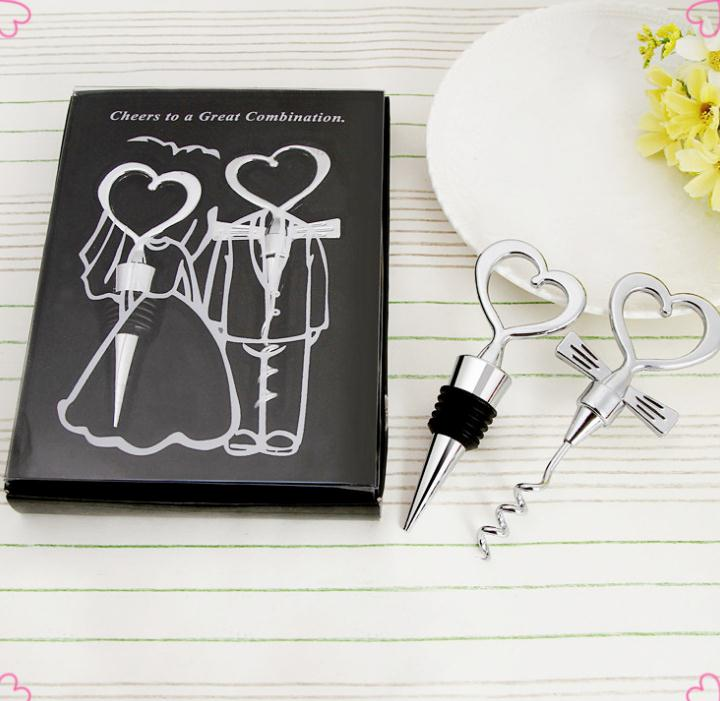 Wine Bottle Opener 400pcs=200sets/box Heart Shaped Great Combination Corkscrew And Stopper Sets Wedding Faovrs Gift SN077