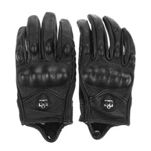 1Pair Motorcycle Gloves Outdoor Sport Full Finger Motorcycle Riding Protective Armor Short Leather Warm Glove M