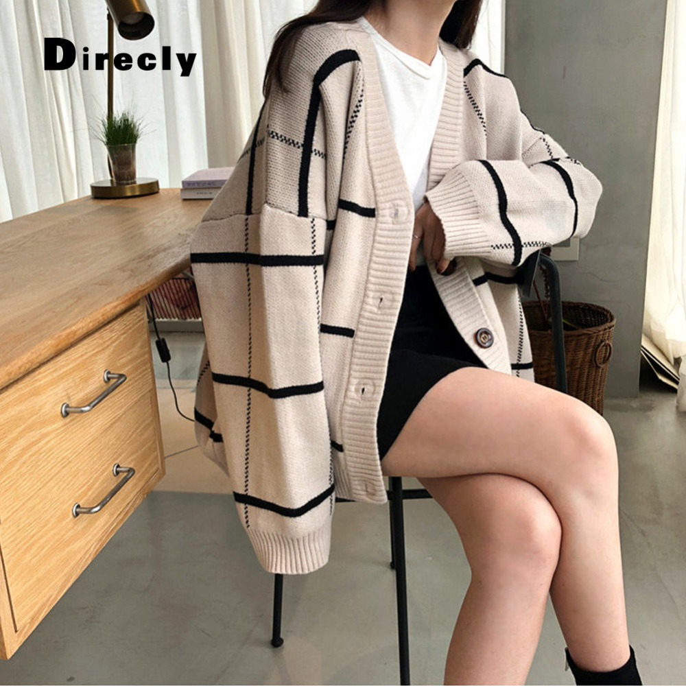 Direcly coffee white Coat Plaid Sweater Autumn 2018 Fashion Ladies New Temperament Women's Black Jacket Ins Versatile Shirt Big rBfaqr