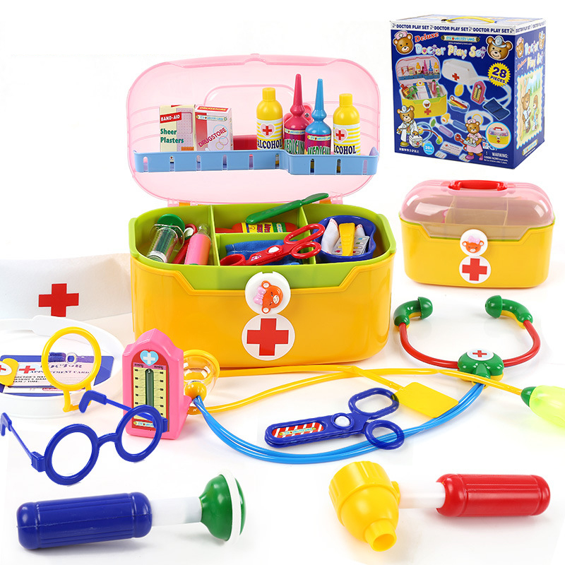 28Pcs/Set Children Medical Kit Doctor Play Set Plastic Material Doctor Toy Kit Educational Toys for Kids Gift kids baby doctor medical play set carry case education role play toy kitm43o