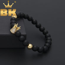 Charm Nature Stone Bracelet With Micro Zircon King Crown Model 8mm Dull Polish Matte Black Retro Bead Bracelet Men Women(China)