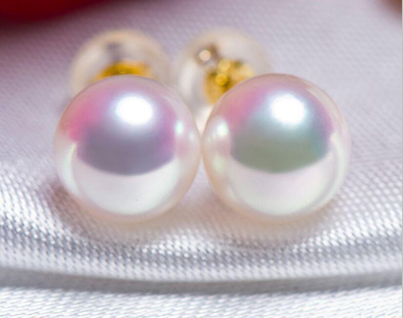 AAA natural 8-9mm Akoya white pearl pearl earrings AAA natural 8-9mm Akoya white pearl pearl earrings