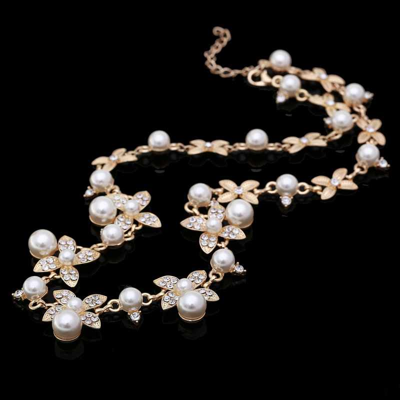 Sweet Long Imitate Pearl Choker Necklace Bridal Jewelry Women Banquet All-match Beaded Crystal Leaf Collares Collier Feminias