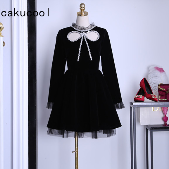 Detail Feedback Questions about Cakucool New Autumn Dress Women Clothing  Mesh Patch Velour Ball Gown Vestido Long Sleeve Gothic Black Japanese Bow  Tie ... 1783bad729fe
