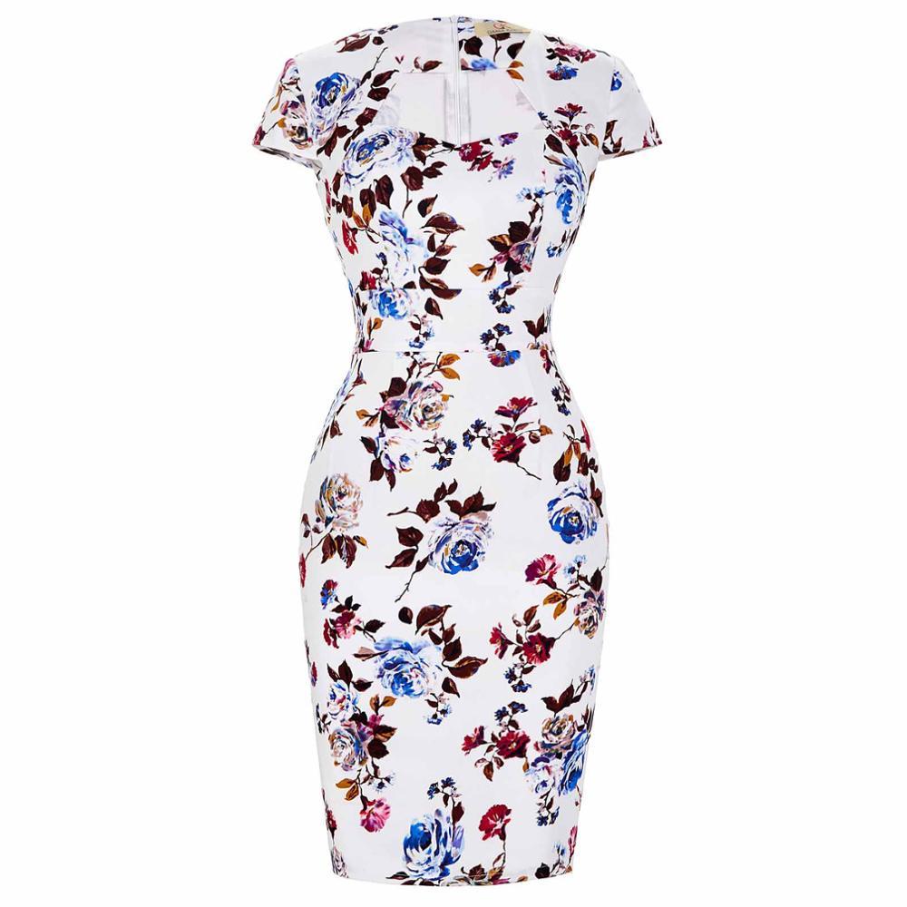 Сексуальное тонкое женское летнее платье, облегающее платье-карандаш из хлопка размера плюс 3XL, винтажное платье 50 s, платье для офиса, платье для работы - Цвет: 13