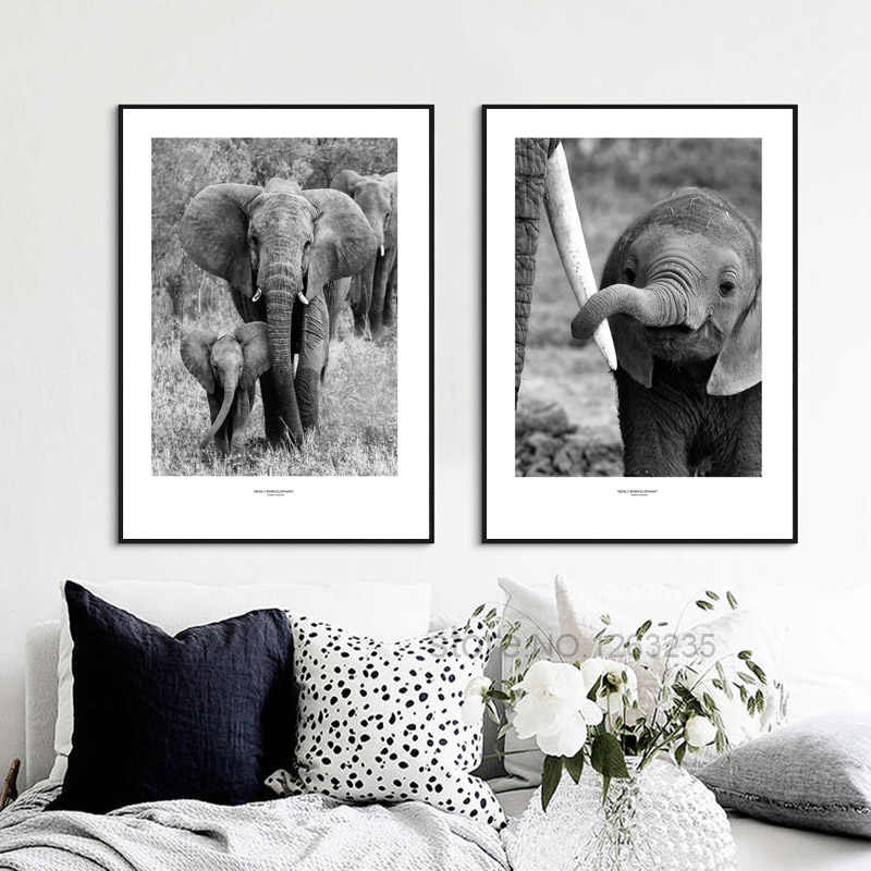 Grey Elephant Nordic Poster Picture Wall Art Canvas Painting Cuadros Wall Pictures For Living Room Posters And Prints Unframed