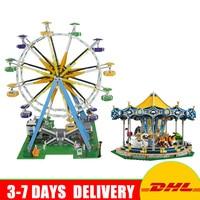 DHL 15036 Street Series The Carousel Set 15012 The Ferris Wheel Model Building Blocks Bricks Toys for Children Clone 10257 10247