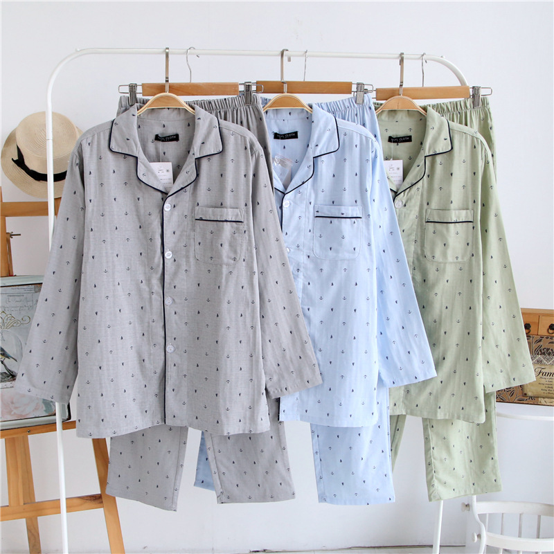 Cotton Double Gauze Spring Pajamas Sets Men Lomg Sleeve Home Clothing Spring Summer Long Pants Breathable Absorbent