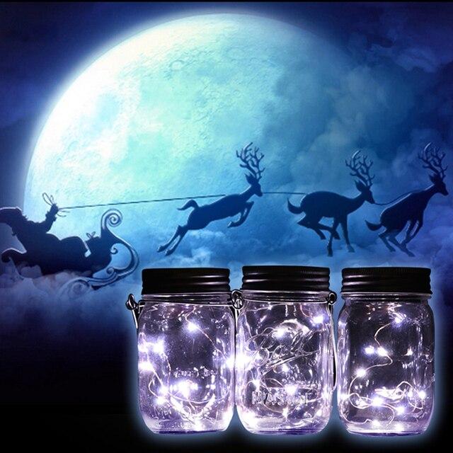 3Pcs/lot Christmas Gifts Decor Solar Panel Mason Jar Lid Insert With White LED Light for Glass Jars Christmas Party Light