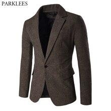 Мужской Блейзер, куртка в елочку, спортивное пальто, смарт, формальный ужин, хлопковые костюмы, приталенный, на одной пуговице, с отворотом, повседневное пальто, кофейный
