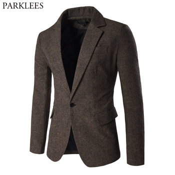 Men's Blazer Jacket Herringbone Sport Coat Smart Formal Dinner Cotton Suits Slim Fit One Button Notch Lapel Casual Coat Coffee