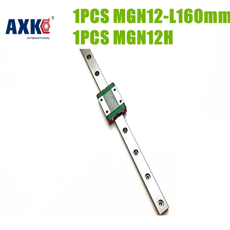 2018 New Ball Bearing Thrust Bearing Axk Cnc Motion Machine Parts Linear Guide Mgn12h Block 1pc + Rail Mgn12 -160mm Price Low linear guide motion reasonable price guideway rail toothed belt drive for laser machine mechanical parts