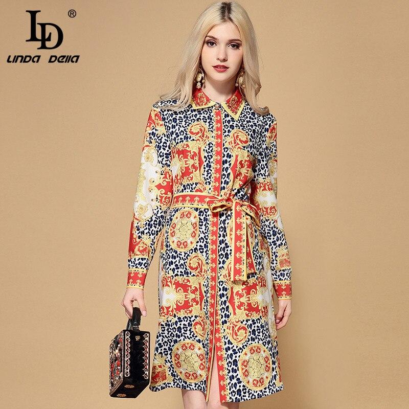 LD LINDA DELLA 2019 Spring Fashion Runway Loose Dress Women s Long Sleeve Belted Vintage Floral