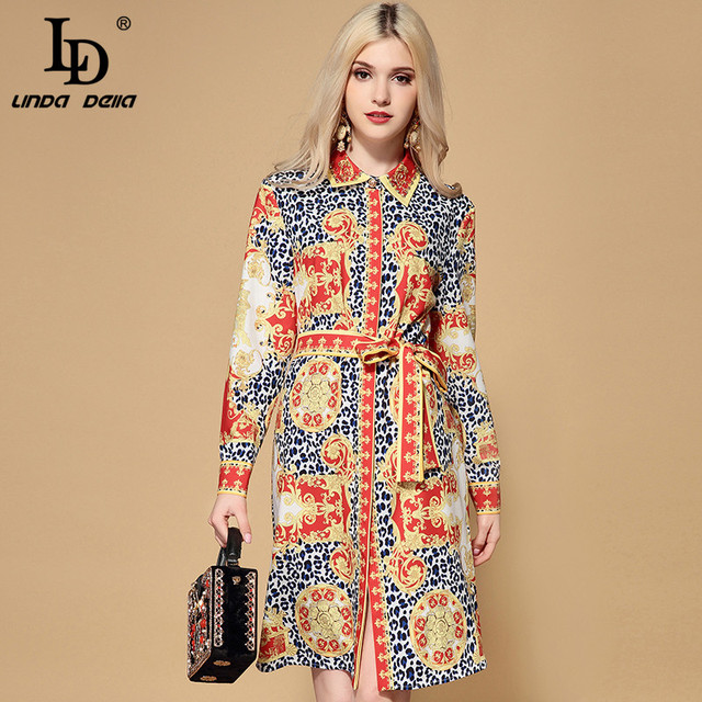 LD LINDA DELLA 2019 Spring Fashion Runway Loose Dress Women's Long Sleeve Belted Vintage Floral Leopard Printes Shirt Dress