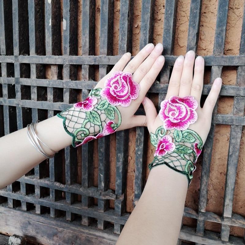 Ethnic Wind Embroidery Flower Hollow Fingerless Gloves Fashion Joker Bracer Bracelet Dance Jewelry For Women 02