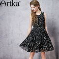 Artka mujeres del resorte nueva decoración dot gasa dress fashion todo-fósforo del o-cuello sin mangas dobladillo ancho dress con fajas la12062c