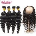 360 lace frontal encerramento com bundles 4 pçs/lote befa cabelo brasileiro onda solta com 360 frontais nós descorados cabelo livre grátis