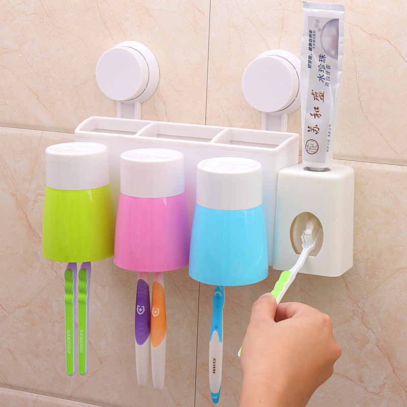 Automatic Toothpaste Dispenser with 3 Toothbrush Holder Set Wall Mount Stand US