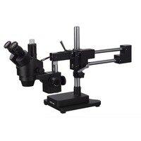 AmScope 7X 45X Тринокулярный Стерео зум микроскоп с черной двойной стрелой стенд SM 4T B