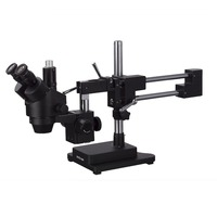 AmScope 7X 45X Trinocular Stereo Zoom Microscope with Black Double Arm Boom Stand SM 4T B
