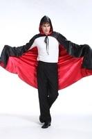 Homme et weman Halloween costumes adulte de danse performance vêtements vampire cape démon manteau rouge et noir double manteau avec chapeau