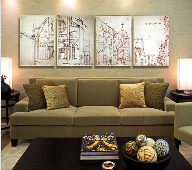 4 pieces spray painting pictures architectural designs of city on ...