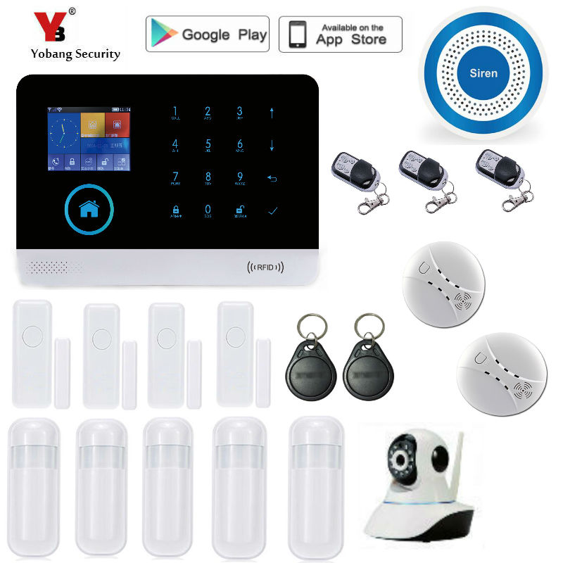 Yobang Security wireless wifi gsm alarm system TFT display door sensor home security alarm systems Wireless Smoke Detector kit wireless smoke fire detector smoke alarm for touch keypad panel wifi gsm home security system without battery