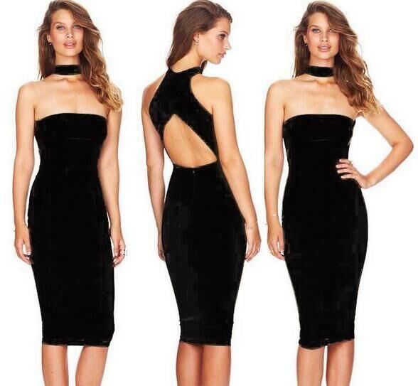 eb953c0b6 Nueva moda vestido negro color señoras sexy rodilla longitud bodycon vestido  HL vendaje vestido de alta calidad