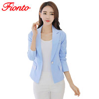FIONTO Women Blazers And Jackets Suits Foldable Long Sleeves Lapel Coat 7 Candy Colors Single Button