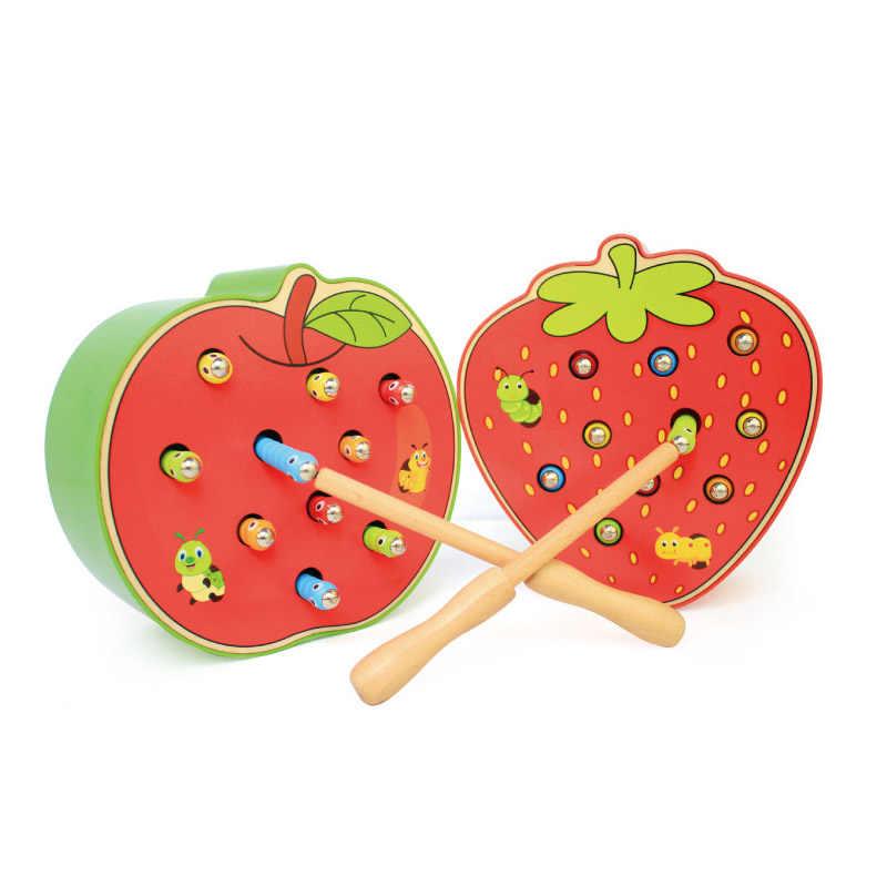 แมลงเกมปริศนาเด็ก Interactive ของเล่น Caterpillar Eats Apple จับหนอนเด็กการศึกษาไม้ของเล่น