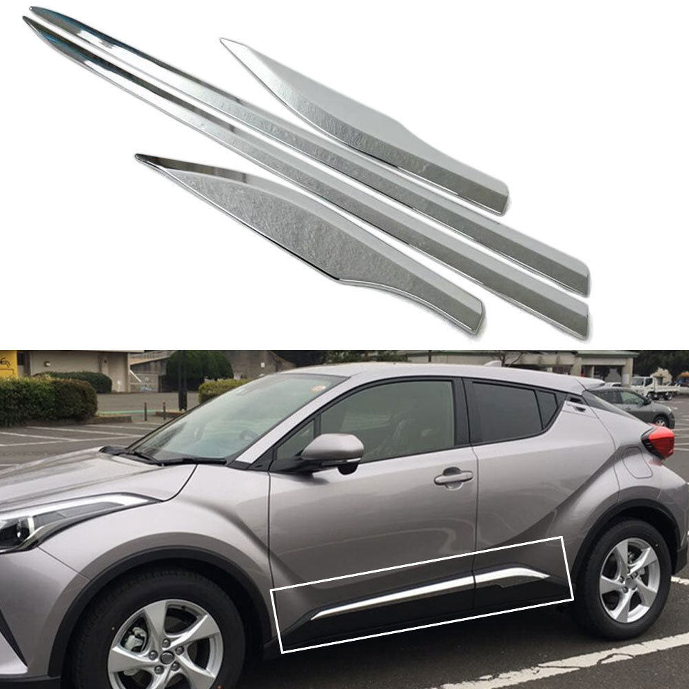 BBQ@FUKA Chrome ABS Car Side Door Body Cover Moulding Trim Strip Car Exterior Accessories Fit for TOYOTA C-HR CHR 2016 2017 2018 dwcx new fashion 4pcs car styling silver abs plastic matt inner door handle cover trim 17 6 x 6 7cm fit for toyota chr 2017
