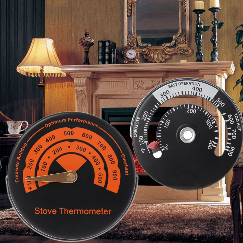 1PC Alloy Magnetic Stove Flue Pipe Thermometer - Round Temperature Gauge For Wood Burner 2 Types