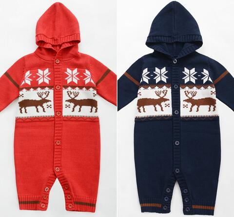 Wholesale Free shipping toddler Boys kids Autumn Winter New One piece Knitted Romper Hooded Infant wear Baby Clothing brand new 2017 infant romper baby boys girls jumpsuit clothes new born bebe clothing hooded toddler cute stitch free shipping